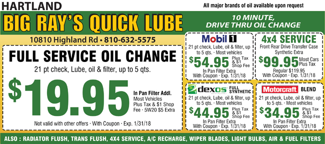 Coupons quick lube